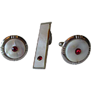 Mod Mens Jewelry Set Vintage 1960s Cuff Links Tie Clip White Mother of Pearl Red Rhinestones