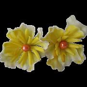 Yello Flower Earrings Vintage 1960s Molded Plastic Large Clip