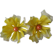 Yellow Flower Earrings Vintage 1960s Molded Plastic Large Clip