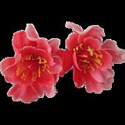 Pink Flower Clip Earrings Vintage 1960s Large Plastic