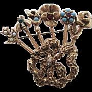 Goldette Stick Pin Brooch Vintage 1960s Rose Flower Snake Bee Rhinestone Cabochon