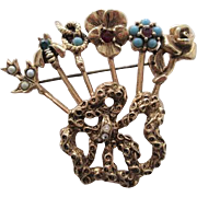 Goldette Stick Pin Brooch Vintage 1960s Rose Flower Snake Bee Rhinestone Cabochon