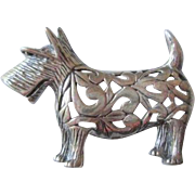 Sterling Silver SS Scottie Pin Vintage 1960s 925 Scottish Terrier Brooch