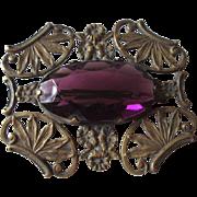 Art Nouveau Amethyst Brooch Vintage 1930s Ornate Art Glass Pin