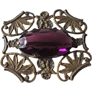 Art Nouveau Amethyst Brooch Vintage 1930s Ornate Art Glass Pin