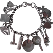Maxann Charm Bracelet Vintage 1950s 16 Charms Signed