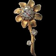Rhinestone Flower Brooch Vintage 1950s Gold Plated Daisy