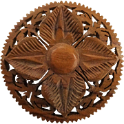 Carved Wooden Flower Pin Vintage 1940s Folk Art Brooch