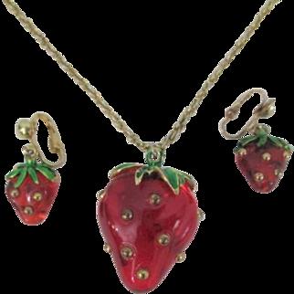 Lucite Strawberry Pendant Necklace Clip Earrings Vintage 1960s Jewelry Demi Parure Set