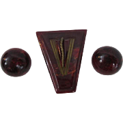 Art Deco Bakelite Dress Clip Earrings Vintage 1940s Black Cherry Prystal Applejuice Demi Parure