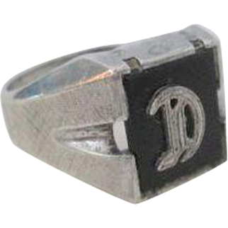Art Deco Sterling Silver SS Ring Vintage 1940s Onyx Letter D Mens Jewelry
