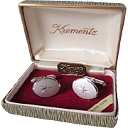Krementz Sterling Silver SS Cufflinks Vintage 1950s MCM Mid Century Modern Atomic Starburst Boxed Set