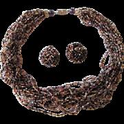 Necklace Earrings Set Vintage 1950s Torsade Choker 22 Strand Beaded Fall Colors
