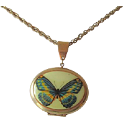 Butterfly Locket Necklace Vintage 1970s Gold Plated Chain Retro Jewelry