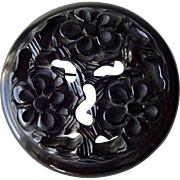 Black Deeply Carved Bakelite Brooch Vintage 1940s Flower Pin Large