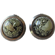 Confetti Lucite Clip Earrings Vintage 1950s Silver Tone Seashell Domed Pair