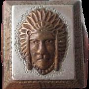 Mexico Silver Biker Ring Indian Chief Vintage 1940s Native American Souvenir Tourist