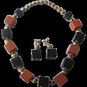 Hobe Designer Jewelry Set Vintage 1970s Orange Black Wood Blocks Necklace Earrings Halloween Demi Parure