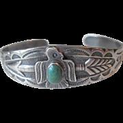 Maisels Navajo Cuff Bracelet Vintage 1950s Native American Sterling Silver SS Tourist Souvenir Albuquerque Fred Harvey
