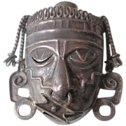 Silver Mexico Death Mask Brooch Vintage 1950s Hecho en Mexico BGM Signed Pin Nose Ring