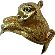 Castlecliff Leopard Clamper Bracelet Vintage 1960s Figural Hinged Gold Plated Statement Jewelry