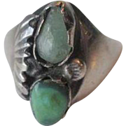Native American Navajo Ring Vintage 1940s Sterling Silver SS Aventurine Green Turquoise