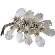 Early Miriam Haskell Crystal Rhinestone Brooch Vintage 1930s Faux Pearl Grapes Cluster
