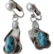 Sterling Silver SS Turquoise Dangle Earrings Vintage 1950s Hand Crafted Native American Navajo Clips