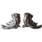 Mexico Silver Bird Earrings Vintage 1950s Screw Back Figural Jewelry Pair