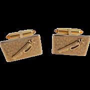 Mens Designer Golf Cuff Links Cufflinks Vintage 1950s Mid Century Modern Krementz Signed Amber Bullets