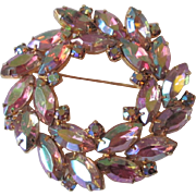 Vintage 1950s Aurora Borealis Wreath Pin Brooch