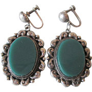 Sterling Silver SS Dangle Earrings Vintage 1950s Guadalajara Mexico Jade Green Onyx AHS Large Size