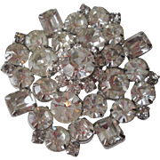 Large Rhinestone Snowflake Brooch Vintage 1950s Silver Plated Sparkling Pin