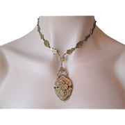 Victorian Taille d'Epergne Lavalier Chain Choker Necklace Ornate Brass Flat Links
