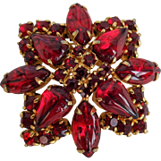 Vintage 1950s Red Glass Rhinestone Pin Brooch