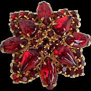 Vintage 1950s Red Glass Rhinestone Pin Brooch