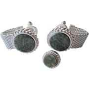 Dante Cufflinks Tie Tack Set Vintage 1960s Silver Plated Green Faux Jade Signed