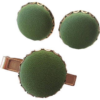 Mod Mens Cufflinks Tie Clip Set Vintage 1960s Olive Green Gold Plated Round Button