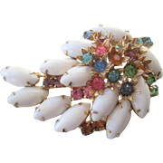Milk Glass Rhinestone Brooch Vintage 1950s Colorful Leaf Pin