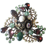 HOLD For Loreen: Large Fruit Salad Brooch Vintage 1950s Rhinestone Faux Pearl Flower Art Glass Cluster Pin