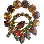 Fall Colors Rhinestone Brooch Vintage 1950s Wreath Ribbon Bow