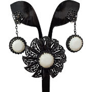 Lewis Segal Flower Brooch Dangle Earrings Set Vintage 1960s Black Metal White Milk Glass