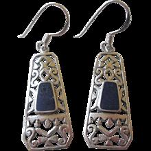Sterling Silver SS Lapis Pierced Earrings Drop Dangle Filigree
