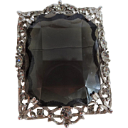 Large Celebrity Sarah Coventry Pendant Brooch Vintage 1960s Smoky Quartz Art Glass Rhinestone