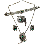 Emerald Vintage 1950s Rhinestone Grand Parure Jewelry Set Brooch Earrings Bracelet Necklace Hollywood Glam