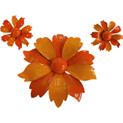 Vintage 1960s Orange Metal Daisy Flower Pin Brooch Clip Earrings Jewelry Set