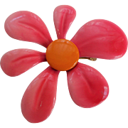 Psychedelic Vintage 1970s Flower Pin Brooch Pink Orange Large Size