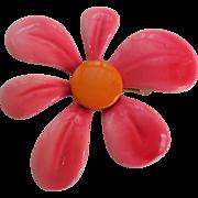 Psychedelic Vintage 1970s Flower Pin Brooch Pink Orange Large Size