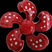 Vintage 1960s Red Metal Flower Pin Pinwheel Polka Dot Brooch