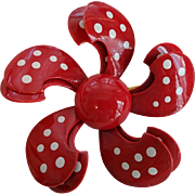 Vintage 1960s Red Metal Flower Pin Pinwheel Polka Dot Brooch